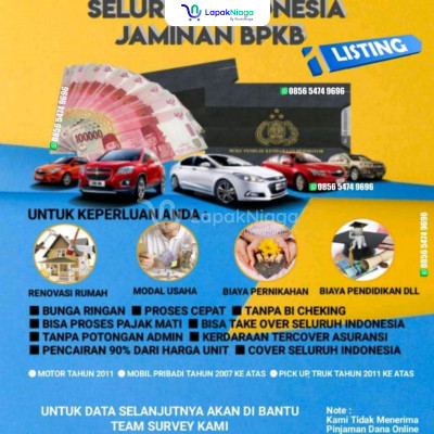 Pinjaman Dana Tunai Jaminan bpkb mobil/motor cover Seluruh indonesia
